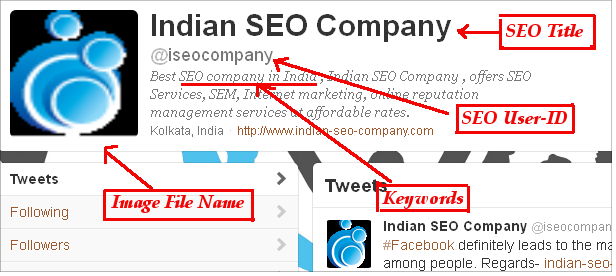 twitter profile of Indian SEO company