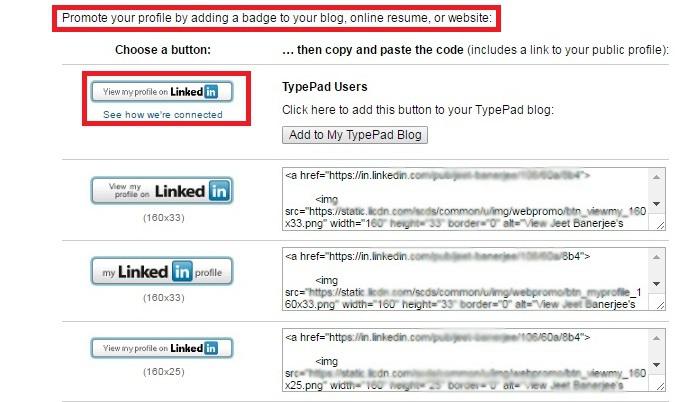 Develop a profile badge in linkedin