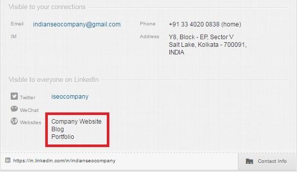 anchor text for web links on LinkedIn